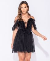 Sheer Mesh Tie Front Ruffle Detail Cold Shoulder Mini Dress